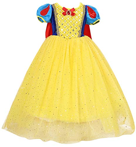 Le SSara Mädchen Prinzessin Schnee kostüm Phantasie fee Dressing up Cosplay Dress mit Cape (150, E70)