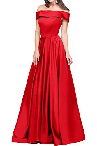 Sunvary Glamour Neu Off-Schulter Satin Bodenlang Abendkleider 2016 Ballkleider Partykleider Rot