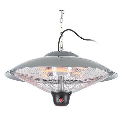 Blumfeldt Heizsporn • Chauffage de Plafond • pour intérieur et extérieur • 3 Niveaux de Chauffage • Puissance de 2000 W • Réflecteur de 60,5 cm • Éclairage LED • Argent