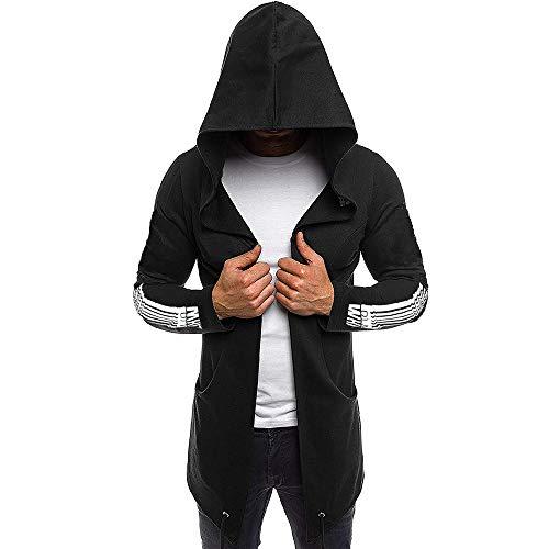 Sweatshirt Herren,SANFASHION Männer Spleißen Kapuzen Solid Trench Coat Kapuzenpullover Jacke Cardigan Long Sleeve Outwear Bluse (Trench Coats Männer)