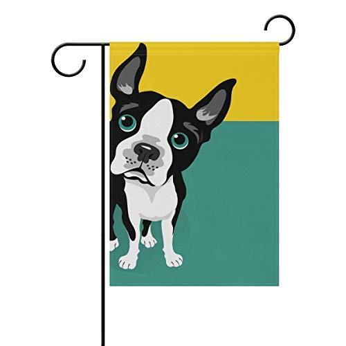 SUNOP Polyester-Gartenflagge mit süßem Boston Terrier, 30,5 x 45,7 cm, für den Außenbereich, Zuhause, Garten, Blumentopf, Dekoration, Party-Zubehör, Hausflagge
