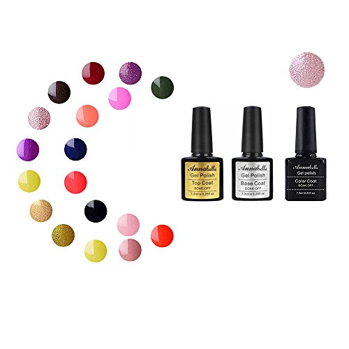 Annabelle (Base & Top Coat + one color)Esmaltes Permanentes Para Uñas Nail Art Soak Off UV LED Esmalte Permanente de gel (Lot 3 pcs 7.3ML/pc ) 1326
