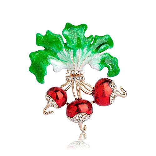 (GFDS Broschen Rote Rettich Broschen Gold-Farbe Emaille Pflanzenbrosche Revers Pin Glänzenden Kristall Männer Frauen Kinder Pullover Kostüm Clips)