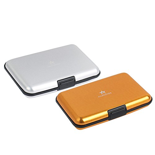 2er Set (Doppelpack) in Gold und Silber spritzwasser geschütztes Etuis für Kreditkarten Visitenkarten Geldscheine mit geriffelte Oberfläch Mens Wallets Kreditkarten
