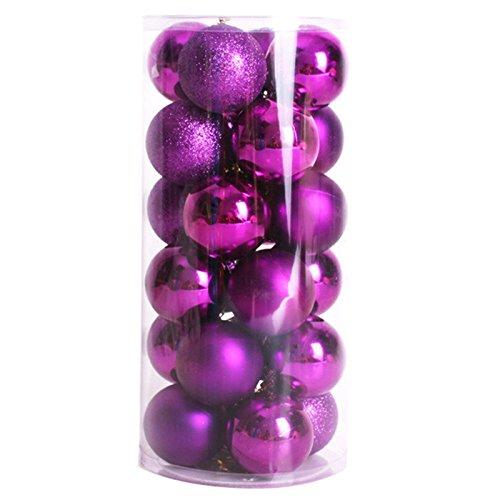 Toogoo(r) 24 pz decorativi xmas 6cm capodanno decorazioni albero di natale palle di natale per la decorazione domestica (viola)