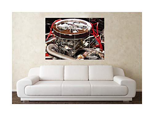 Große ziehen Nitro Methanol Auto Motor V8 Poster Wall Kunstdruck -