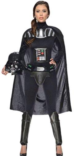 Fancy Ole - Damen Frauen Darth Vader Star Wars Kostüm Overall mit befestigt Umhang, Gürtel und Maske., L, Schwarz (Ki Adi Mundi Costume)