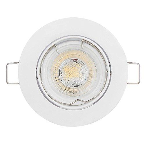 6er LED Einbaustrahler Schwenkbar Ultra Flach Inkl. 6 x 5W LED Modul 230V nur 23mm dimmbare Lichtfarbe 3000K, Ra >85, 5W statt 50W Abstrahlung 38°, Schwenkbar, Gehäuse Rund, Weiss