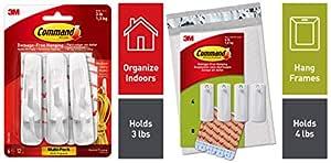 3M Command Plastic Medium Hooks (White, Pack of 6) + 3M Command Plastic Saw Tooth Picture Hangers (White, 4-Hangers, 8-Strips)