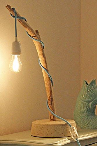 Robin Woods Treibholz Lampe mit Textilkabel und Edison Glühbirne, Größe S -