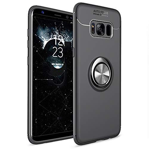 Avalri für Galaxy S8 Plus Hülle,Stoßfestes Kratzfest Slim Soft TPU 360 Grad Drehbarer Ring Kickstand Handyhülle Unterstützung Magnetische Auto Mount Funktion für Samsung Galaxy S8 Plus (Schwarz) Samsung-metal-handy