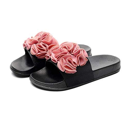Women's Summer Flat Sandals Flower Band Open Toe Ankle Strap Platform Sandals Fashion Party Wedding Platform Shoes for Women (Pink) (Pink Sandal Flower)