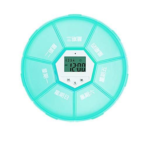 Zerama Wöchentliche Pill Organizer Digital Timer 7 Gitter Pill Box Wecker Erinnerung Tablet Dispenser Fall (Timer-pille Fällen)