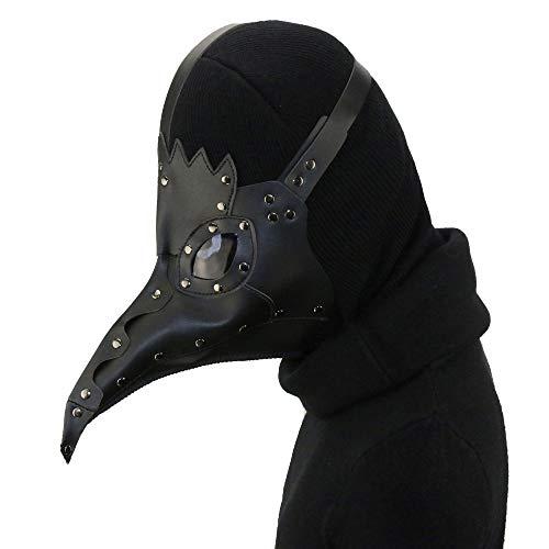 (XC Steampunk Pest Schnabel Black Spike Bird PU Maske, Halloween Music Festival Party-Accessoires, Schwarz)