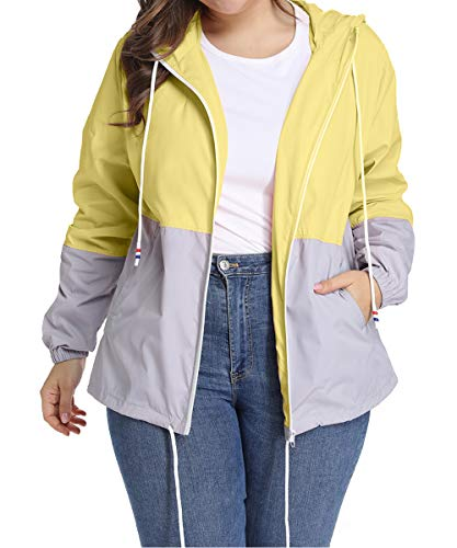 Chaqueta Impermeable Mujer Plus Size Capucha Ajustable