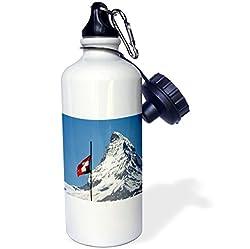 3dRose wb_82640_1 Switzerland, Matterhorn, Mountain, Swiss flag EU29 RER0035 Ric Ergenbright Sports Water Bottle, 21 oz, White