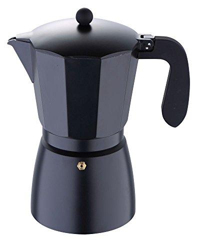 Cafetera italiana de aluminio, color negro