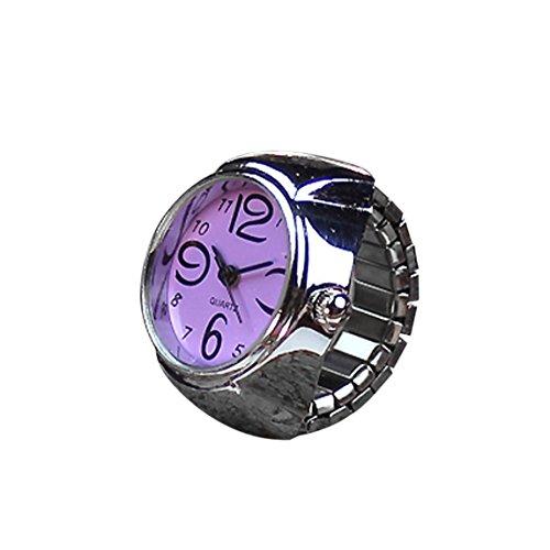 Vovotrade 2017 Cool Quarz Analog Uhr Kreativ Stahl Elastische Finger Ring Uhr Paar Ringe Uhren(Lila)