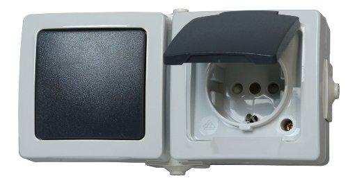 Kopp Nautic Steckdose und Schalter Kombination für Feuchtraum, IP44, 250V (16A), Aufputz Schutzkontakt-Steckdose mit Deckel & Wechselschalter, erhöhter Berührungsschutz, grau, 138656001