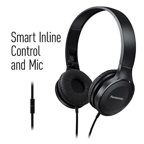 Panasonic On Ear Stereo Headphones RP-HF100M-A with Integrated Mic and Controller, Travel-Fold Design, Matte End, Blue Image 5