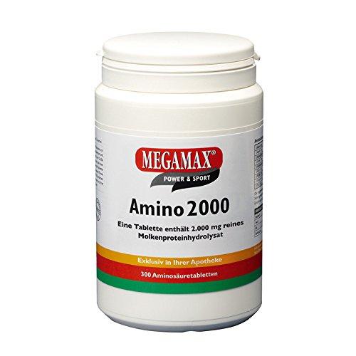 Megamax Amino 2.000 Aminosäuretabletten 300 Tabletten reines Molkenproteinhydrolysat   Aminosäuren Komplex mit (BCAA & EAA) inkl. 7 essentiellen Aminos   Muskelaufbau, für Kraftsport und Bodybuilder