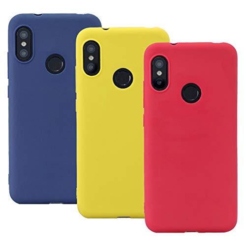 EuCase 3X Funda Xiaomi Redmi Note 7 Silicona Carcasa Redmi Note 7 Antigolpes Suave TPU Flexible Ultra Delgada Goma Cubierta Protector Bumper Case para Caja Tapa Carcasa Rojo Amarillo Azul