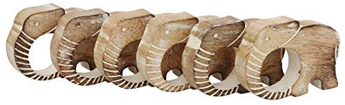 Souvnear fait à la main Lot de 6ronds de serviette en bois sculpté avec un motif éléphant en vieilli Finition patiné, Dessus de table de salle à manger/accessoires–Décoration de maison