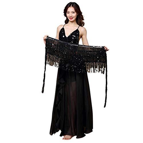 Lulupi Bauchtanz Hüfttuch Damen Kostüm, Belly Dance Bauchtanz Kostüm Hüftgurt mit Künstlicher Münzquaste Münzgürtel - Bauchtanz Kostüm Für Verkauf