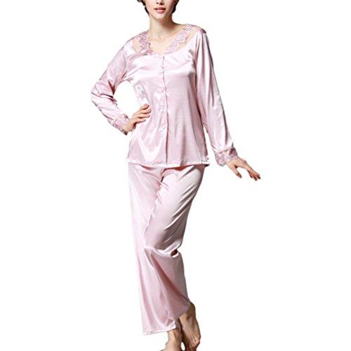 Zhhlaixing Fashion Women's Sexy Lace Satin Pyjamas Womens Long Sleeve Nightwear pink