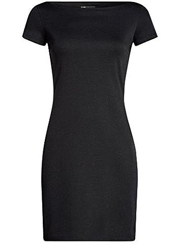 oodji Ultra Women's Jersey Boat Neck Dress, Black, UK 6