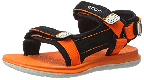 Ecco Unisex-Kinder Intrinsic Lite Sandalen, Schwarz (50567BLACK/Orange Neon), 28 EU