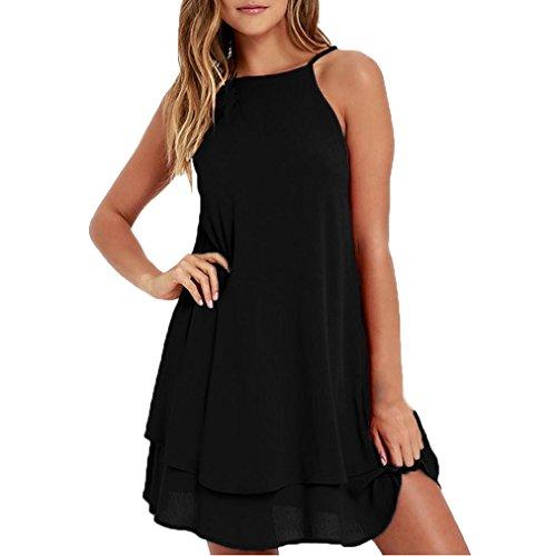 SOMESUN Damen Cocktail Kleid mit Chiffon Elegant Chiffonkleid Ärmellos Sommerkleid Partykleid...