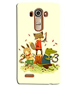 Blue Throat Three Animal Cat Rat And Frog Enjoying Printed Designer Back Cover For LG G4