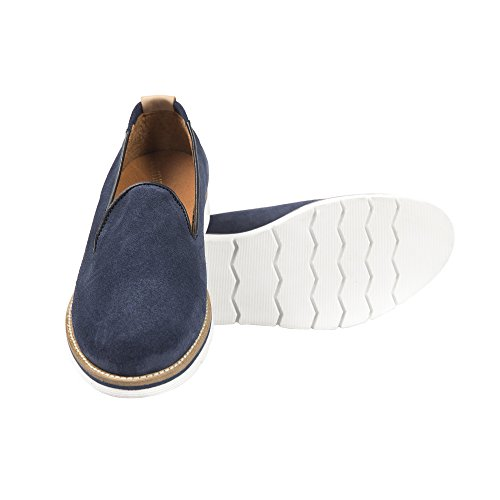 UominiItaliani - Chaussures élégantes en cuir mocassin pour hommes Made in Italy - Mod. 112A DRAG Bleu Marine