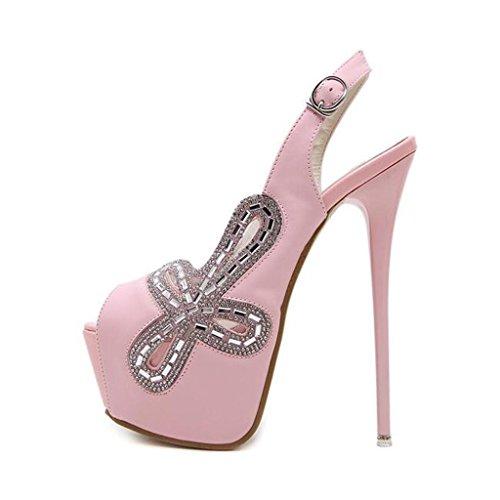 W&LM Signorina Tacchi alti sandali Questo è buono Bocca di pesce sandali metallo Fibbia sandali Strass Scarpa Pink