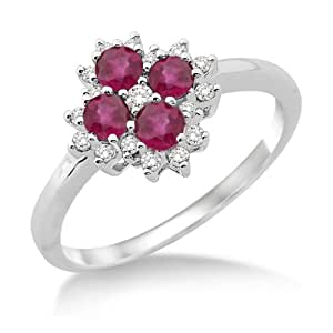 Ruby Ring, 9ct White Gold, Diamond Setting, Flower Ring, Size L, by Miore, SH015RM