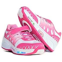Usay like Envio 24H Zapatillas con Ruedas Color Rosa Para Niña Chica Talla 30 Hasta 38 Envio Desde España (EU30, White Fuxia)