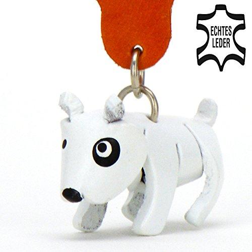 Bull Terrier chien Balu–Porte-clés Figurine en cuir des monkimau en deux variantes rayures marron, noir et blanc (5x 2x 4cm L x l x h), 1Pièces