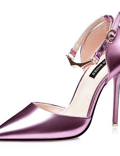 WSS 2016 Chaussures Femme-Décontracté-Noir / Rose / Argent-Talon Aiguille-Talons-Chaussures à Talons-Polyuréthane silver-us8 / eu39 / uk6 / cn39