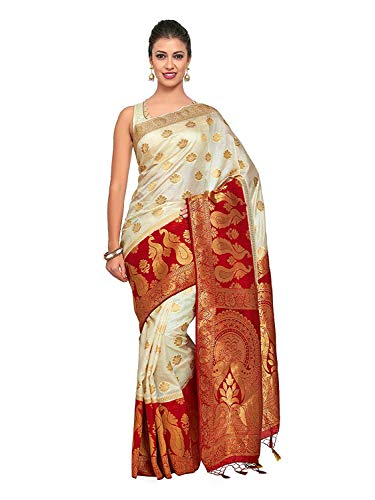 Art Silk Saree Kanjivarm Pattu Style with Contrast Blouse Color: Beige Silk Border Print Dress