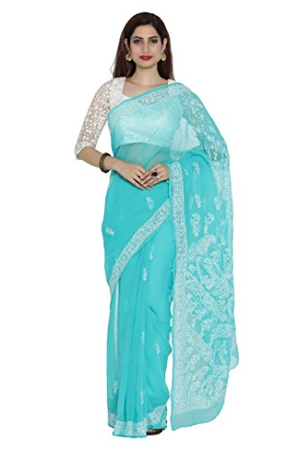 Ada Women's Hand Embroidery Lucknow Chikankari Faux Georgette Saree With Blouse Piece...