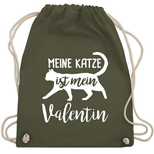 Valentinstag - Meine Katze ist mein Valentin - Unisize - Olivgrün - WM110 - Turnbeutel & Gym Bag