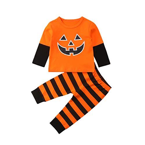 Neugeborenes Baby-Halloween-Kürbis-Muster übersteigt Sweatshirt-orange schwarzen Streifen-Lange Gamaschen keucht Säuglings-2pc Ausstattungs-gesetzte Pyjamas Sleepwear (9-12M)