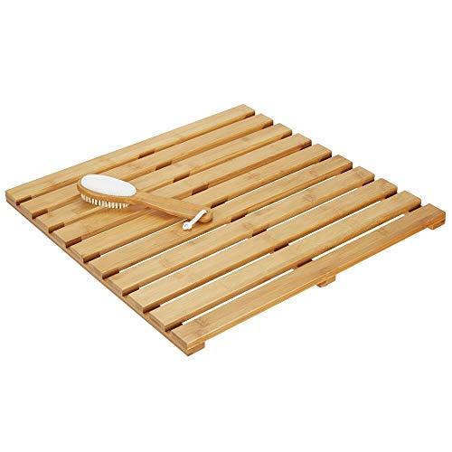 mDesign Alfombra de bambú - Alfombrilla de baño Rectangular de bambú...
