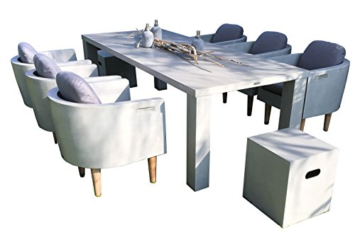 Matodi Esstisch Set 9 teilig Sitzgruppe Betonmöbel