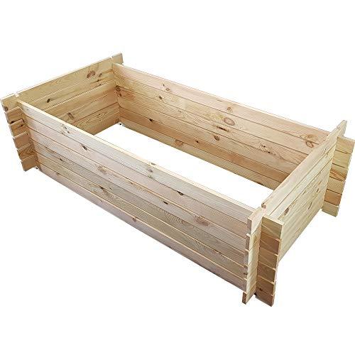 PROHEIM Holzkomposter 170 x 85 x 51 cm Natur Kompostbehälter aus 100% FSC Holz Stabiler Gartenkomposter mit Stecksystem 500 Liter Fassungsvermögen