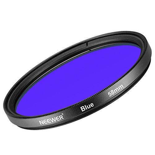 Neewer 58MM Filtre Coloré Bleu pour Canon EOS Rebel T6i T6 T5i T5 T4i T3i SL1 Appareil Photo Reflex, Fait de Verre Optique HD et Cadre en Alliage d'Aluminium