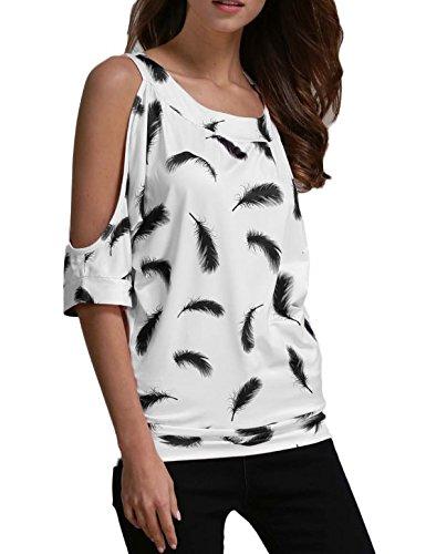 Swallowuk Sommer Frauen-Kurzschluss-Hülsen Gedrucktes T-Shirt Beiläufige wilde Weiß