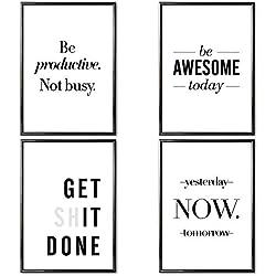 VERSCHIEDENE Poster Set 's » Motivation « 4 x DIN A3 ohne Bilderrahmen   Bilder schwarz weiß mit Sprüchen für Wohnzimmer   Kunstdruck, Wandbild, Bild mit Spruch für Schlafzimmer ohne Rahmen