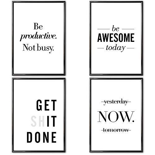 VERSCHIEDENE Poster Set 's » Motivation I « 4 x DIN A4 auch mit Bilderrahmen | Bilder und Motivierende Sprüche für Büro | Kunstdruck, Wandbild, Bild mit Spruch für Arbeitszimmer mit Rahmen